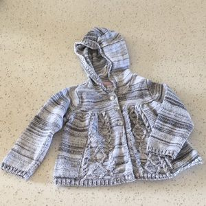 George White and Grey Knit Sweater with Hood